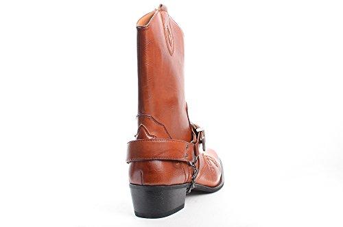Braun Westernreitkettenstiefel Leder Cowboy H2 Gürtelschnalle Herren RtwWX1q4
