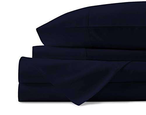 Mayfair Linen 100% Egyptian Cotton Sheets, Navy Blue King Sheets Set, 800 Thread Count Long Staple Cotton, Sateen Weave for Soft and Silky Feel, Fits Mattress Upto 18'' DEEP Pocket