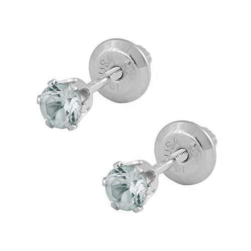 - 14K White Gold Genuine March Birthstone Aquamarine Girls Earrings