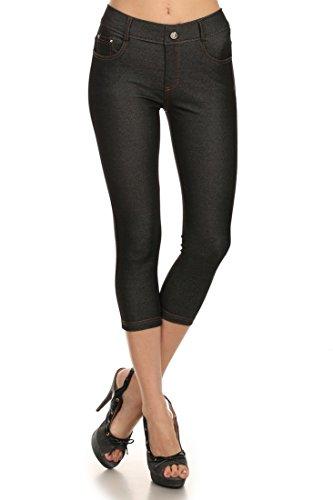 ICONOFLASH Women's Stretch Capri Jeggings - Slimming Cotton Pull On Jean Like Cropped Leggings - Regular and Plus Size (Black, Small) 817JN201BLKS ()