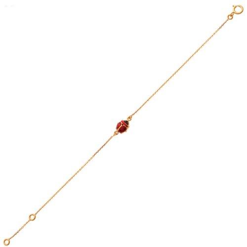 So Chic Bijoux © Bracelet Enfant 14 cm - Or Jaune 375/000 (9 carats) 0,65gr - Maille Fantaisie Coccinelle Laquée Rouge et Noir