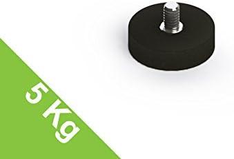 2x gummiert Neodym Magnetsystem Gummi Topfmagnet D 43 mm Außengewinde M6 10 Kg