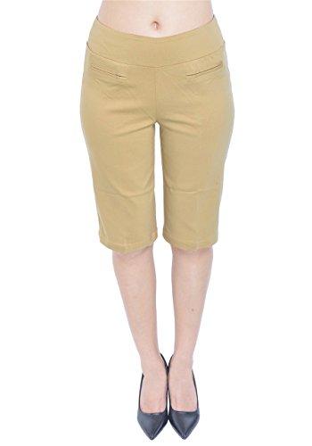 (PattyCandy Womens Tan Comfort Fit Pull-on Bermuda Shorts, Tan - L)