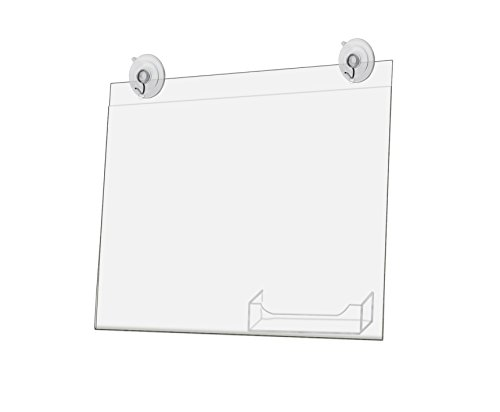 Marketing Holders Window, Glass Mount Sign Holder with Business Card Pocket 11 x 8.5 Inch with 2 Suction Cups with Hooks for Business, Store, Office (Lot of 1) by Marketing Holders