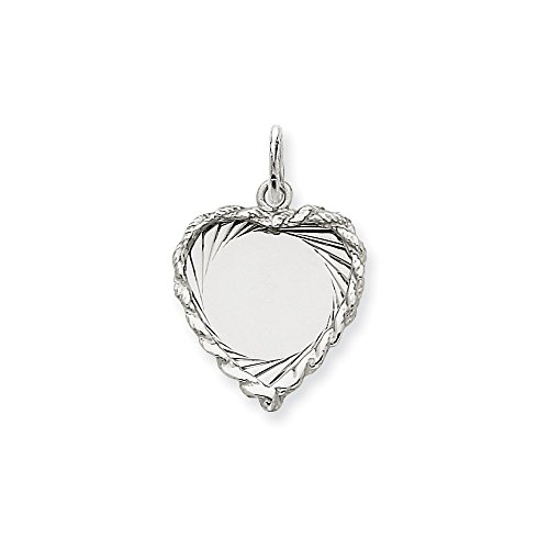 (14k White Gold Etched Design .013 Gauge Engravable Heart Pendant Charm Necklace Disc Framed Fine Jewelry Gifts For Women For Her)