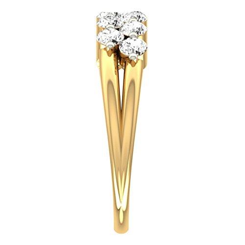 14K Or jaune 0.64CT TW Round-cut-diamond (IJ   SI) en diamant