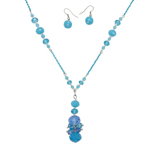 Long Glass Cluster Beads Painted Chain Boutique Style Necklace & Earrings Set (Light Blue)