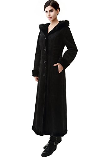 Faux Suede Hooded Coat - BGSD Women's Pauline Hooded Faux Shearling Maxi Coat - Black M
