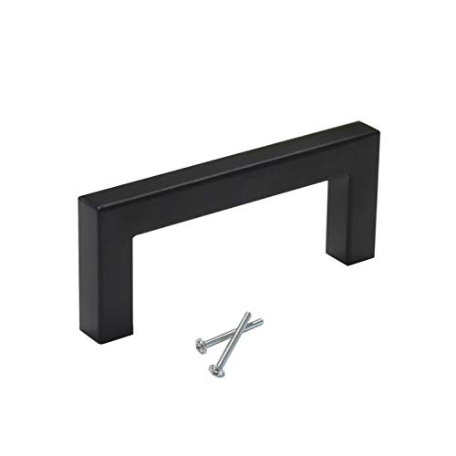 - 25 Pack Black Cabinet Pulls 3 inch Hole Spacing Square Bar Shape Drawer Dresser Cupboard Closet Pulls and Knobs Stainless Steel Bedroom Bathroom Kitchen Hardware Pull Handles