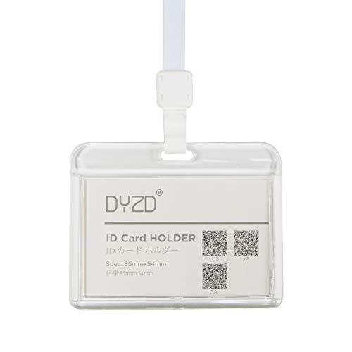 DYZD Badge Holders Hard Plastic ID Card Holders Waterproof ID Holder with Neck Lanyards ID Badge Card Holders(White,2 PCS) - Badge Acrylic