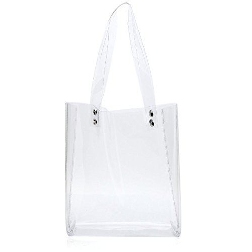 Women Clear Tote Bags for Work Stadium Approved Clear Purse PVC Transparent Shoulder Handbags Travel Beach Bag (Clear 2) Clear