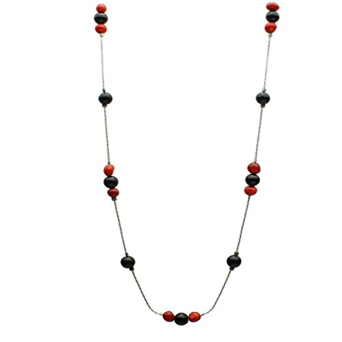Black Onyx Round Stone Beads Red Bamboo Coral Sterling Silver Chain Necklace 16 Inch
