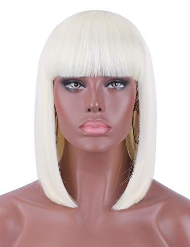 - Kalyss Short Platinum Blonde Color Straight Bob Wig for Black Women Heat Resistant Yaki Synthetic Hair Women's Wig With Hair Bangs