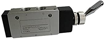 """MettleAir MPTV1522-1PK Pneumatic Valve, 5 Way, 2 Position, Air Switch Toggle, Detented, 1/4"""" NPT"""