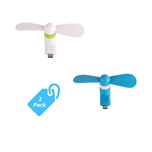 StyleTech Inc. Portable Cool Mini Rotating Fan for Micro-USB Ports Compatible with Samsung, LG, Motorola, HTC, etc. (2.) White + Blue)