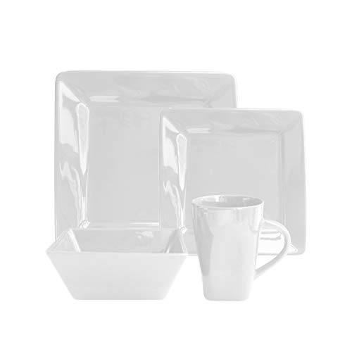 American Atelier Kingsley Casual Square Dinnerware Set – 16-Piece Stoneware Party Collection w/ 4 Dinner Salad Plates, 4…