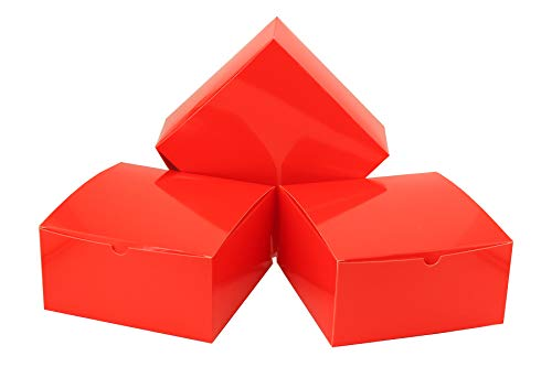 (Tytroy Coral Red Valentine's Day Paper Gift Boxes with Lids Tuck Top Craft Box Bakery Box (10 pc))