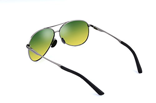 FEISEDY Classic Aviator Polarized Sunglasses Spring Hinge Night Vision Driving B2294 Gunmetal/Day&night