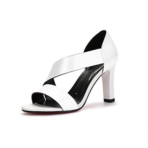 W&LM Signorina Tacco alto sandali vera pelle sandali Greggio Tacchi alti Bocca poco profonda scarpe di pelle White