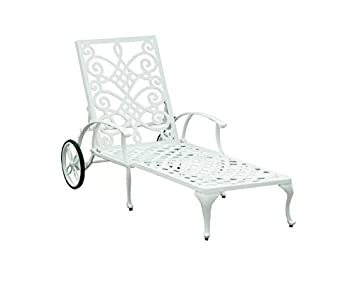 infinity style curved scrolls cast aluminium chaise sun lounger features frosted wheels with rubber - Chaise Aluminium