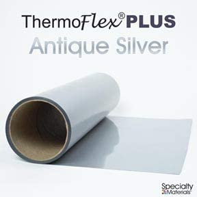 "Antique Silver Thermoflex Plus 15/"" by 3 Feet Heat Transfer Vinyl"
