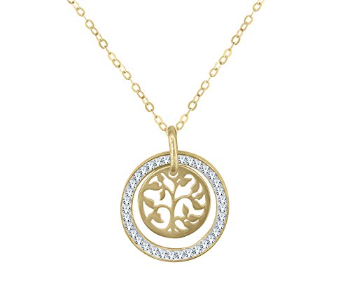 Amata Fine Jewelry Gold Plated Sterling Silver Pendant Necklaces for Women - Great Gift for Her, Women, Wife, Girlfriend, Sister, Teenager, Girls and More! (Tree of Life Pendant)