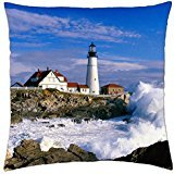 portland head light clash of waves cape elizabeth maine portland head lighthouse - Throw Pillow Cover Case (18