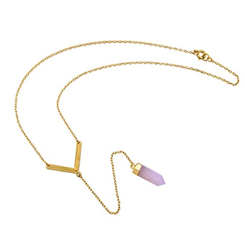 Domi Green (Lares Domi Vintage Gold-tone Pink Quartz Inlay Elegant Edwardian Y-Necklace)