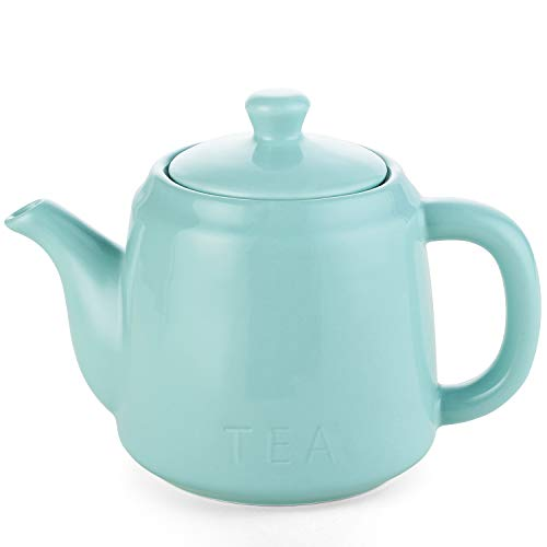 DOWAN Ceramic Teapot, 30 Ounces Tea Pot with Filter Hole and Double Slots, Blooming and Loose Leaf Teapot, Turquoise (Large Tea Pot Ceramic)
