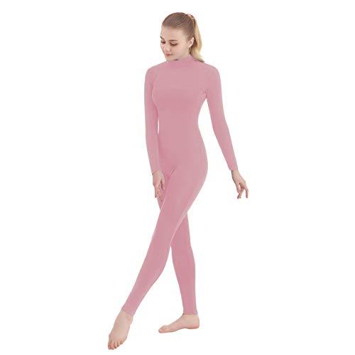 SUPRNOWA Unisex Turtleneck Footless Lycra Spandex Long Sleeve Unitard (Large, Pink)