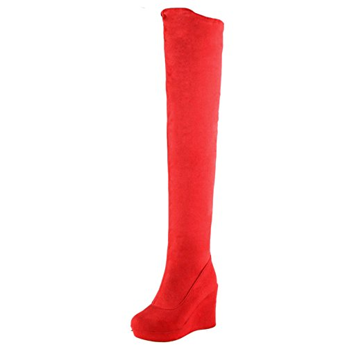 COOLCEPT Women Warm Flatform Boots Pull On Red YfBGN