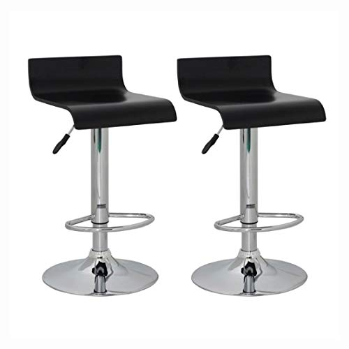 K&A Company Set of 2 Black Bar Stool Wooden Seat with Low Backrest