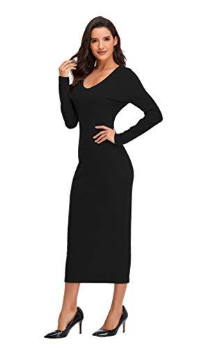 Radtengle Women's Sexy V Neck Knit Long Sleeve Knit Slim Maxi Dress Solid Ribbed Bodycon Midi Dress Black