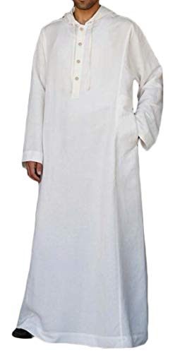 UUYUK Men Loose Fit Hoodie Muslim Arab Thobe Caftan for sale  Delivered anywhere in USA