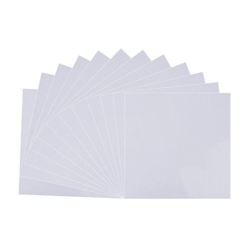 "White Matt Vinyl Sheets - 12 Pack 12"" X 12""- Permanent Adhesive Backed Vinyl Sheets for Cricut,Silhouette Cameo,Craft Cutters,Printers,Letters,Decals"
