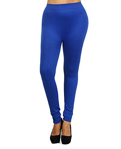 NYFASHION101 Women's Full Length Solid Color Nylon Seamless Leggings (Plus Size), Royal Blue