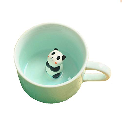 3D Coffee Mug Cute Animal Inside Cup Cartoon Ceramics Figurine Teacup Christmas Birthday Gift for Boys Girls Kids - Party Office Morning Mugs for Tea Juice Milk Chocolate Cappuccino(3D Panda Cup)