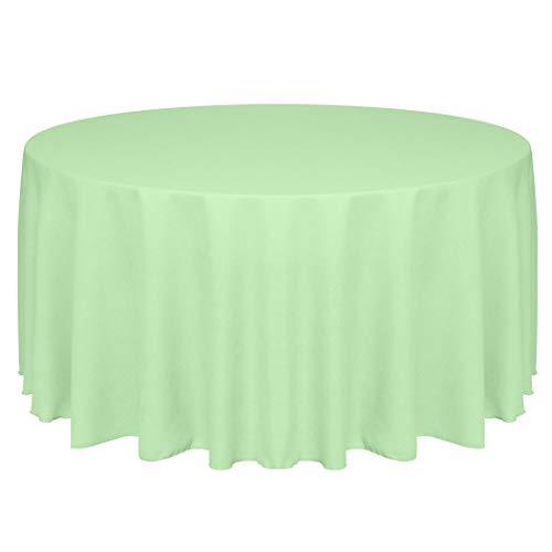 Ultimate Textile -10 Pack- Faux Burlap - Havana 120-Inch Round Tablecloth - Basket Weave, Mint Green -