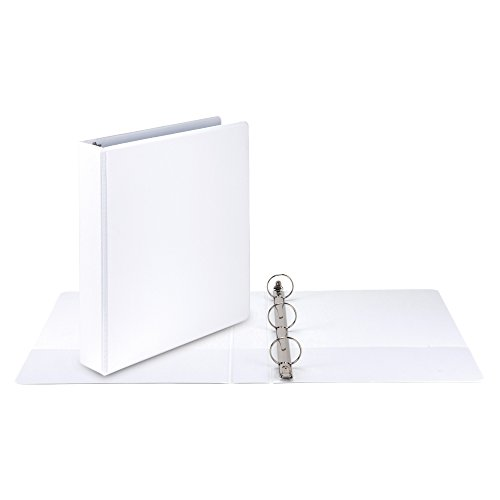Samsill Economy 3 Ring View Binder, 1.5 Inch Round Ring – Holds 350 Sheets, PVC-Free / Non-Stick Customizable  Cover, White, 12 Pack by Samsill (Image #4)