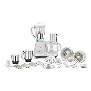 McCoy Super Chef 600-Watt Food Processor with Mixer Grinder Juicer with 3 Jars | 18 Extra Attachments (White/Grey)