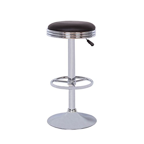 Vogue Furniture Adjustable Black Leather Backless Barstool with Foorting