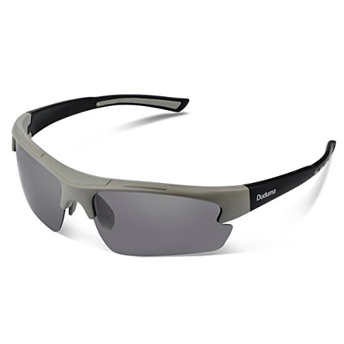 Duduma Polarized Designer Fashion Sports Sunglasses for Baseball Cycling Fishing Golf Tr62 Superlight Frame (Grey Matte Frame with Black Lens)