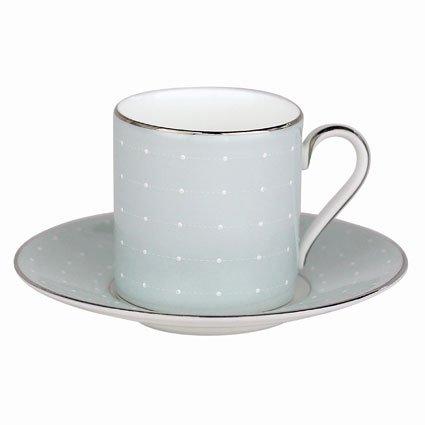 Royal Doulton Monique Lhuiller Etoile Platinum 2-inch Blue Espresso Cup & Saucer, 4-ounce, Set of 2