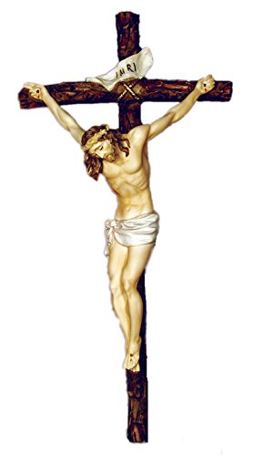 Crucifix by Ado Santini in hand-painted alabaster, 16inches. Made in Italy. by GSV001