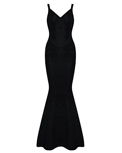 Whoinshop Women's V-neck Backless Fishtail Bandage Long Evening Formal Maxi Dress Black L (Best Celebrity Wardrobe Malfunctions)