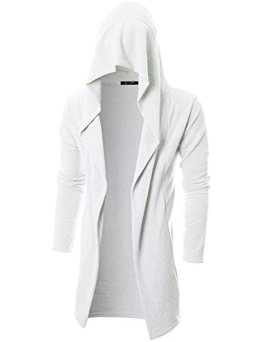 (GIVON Mens Long Sleeve Draped Lightweight Open Front Longline Hooded Cardigan with Pocket/DCC255-IVORY-XL)