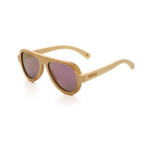 Mini Tree Handmade Bamboo Sunglasses Front Design Polarized Glasses With Bamboo Case (Bamboo, Light - Aviator Sunglasses Mini