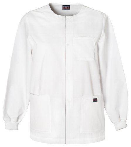 Warm Up Uniforms (Cherokee Workwear Scrubs Men's Snap Front Warm-Up Top, White,)