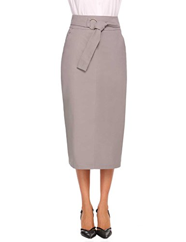 Chigant Women Tie Waist Midi Pencil Skirt (Buckle Pencil Skirt)