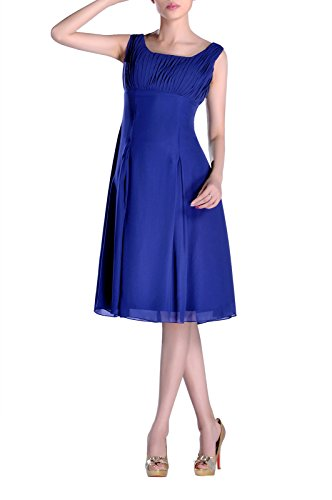 Bridesmaid Dress Knee Length Formal Pleated Mother Of The Brides Special Occasion, Color Royal (Pleated Silk Like Satin)